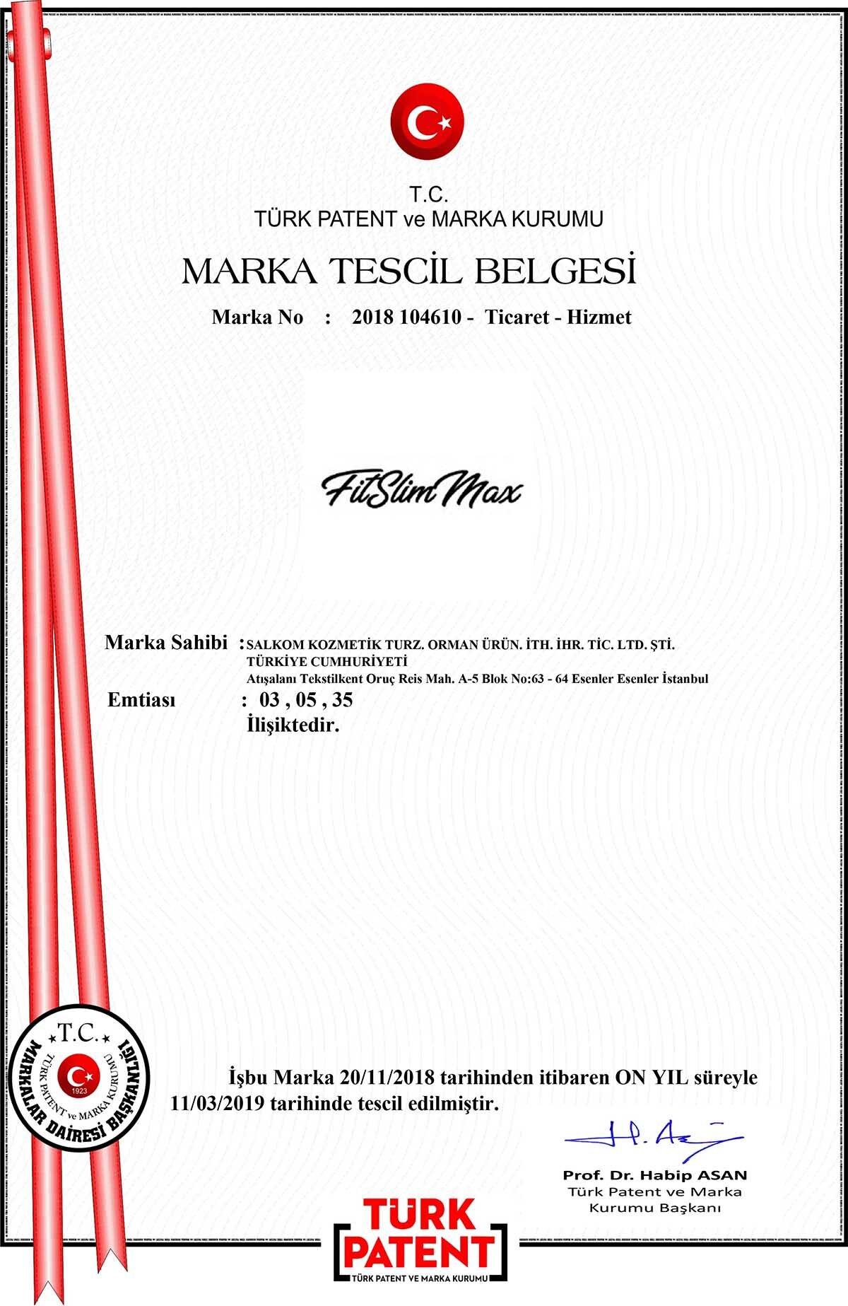 FitSlimMax Marka Tescil
