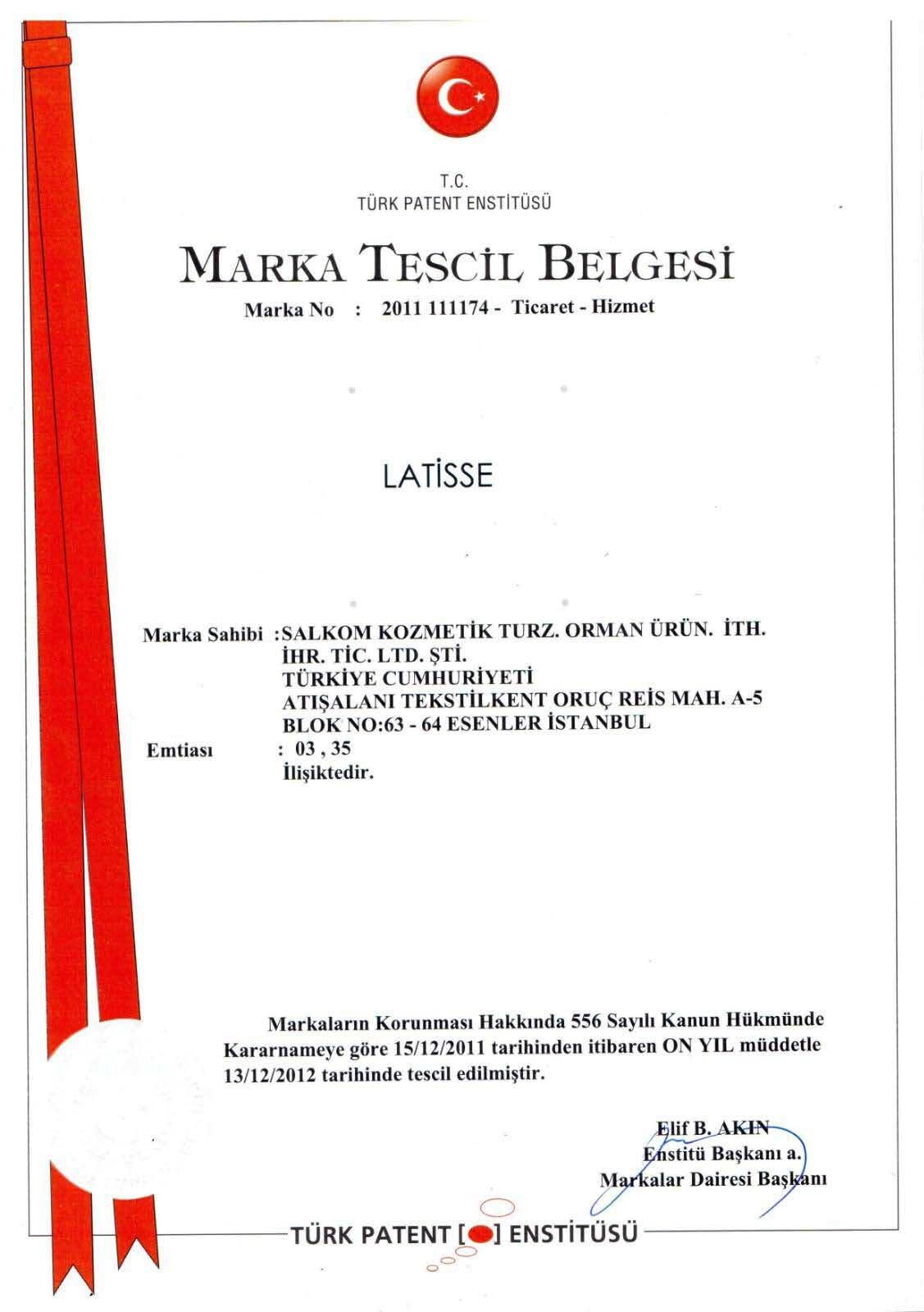Latisse Marka Tescili