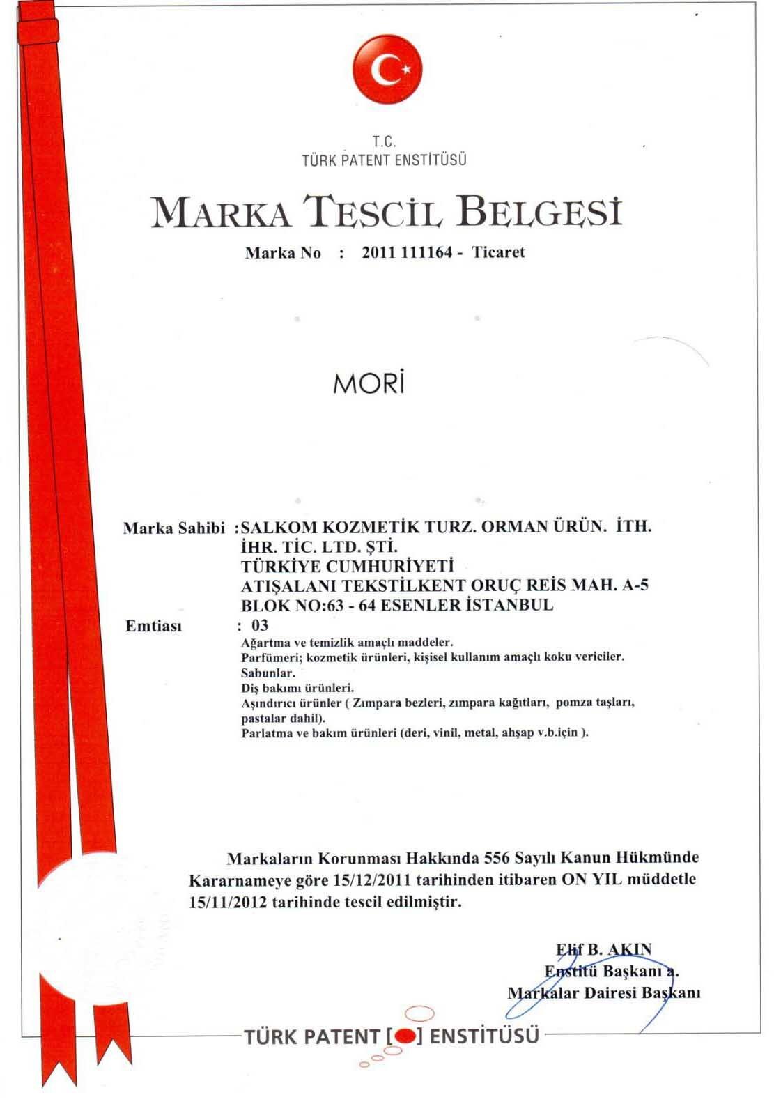 Mori Marka Tescili