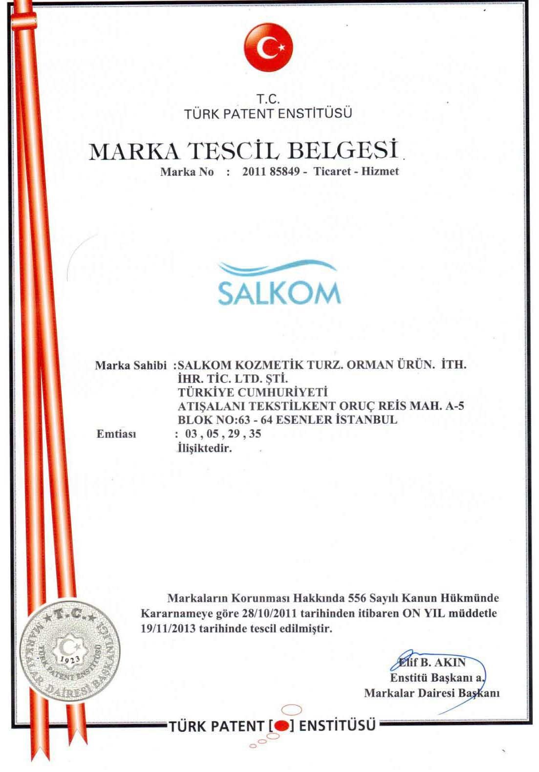 Salkom Marka Tescili